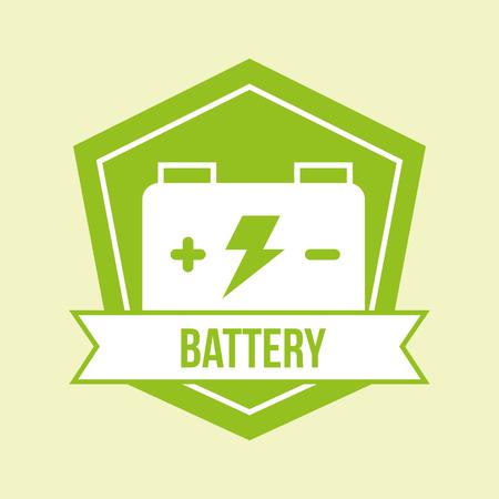 illustrazione di vettore dell'emblema di energia verde della batteria dell'accumulatore Vettoriali
