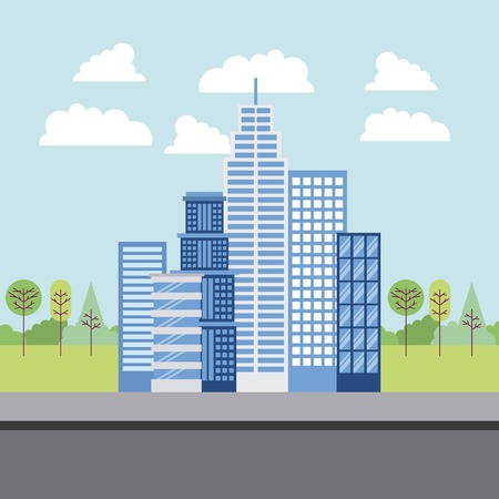 park and city big blue buildings street clouds trees vector illustration Ilustrace