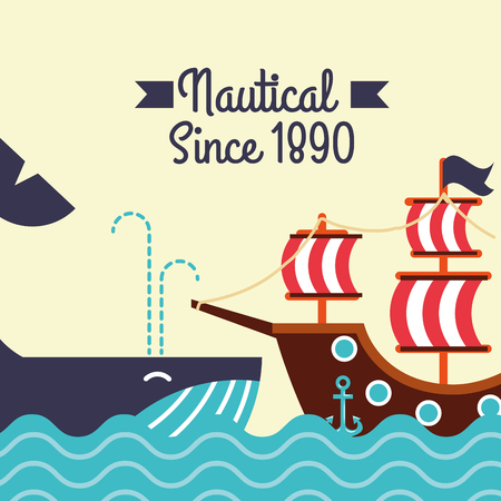 nautical maritime design whale ocean pirate ship vector illustration