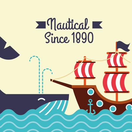nautical maritime design whale ocean pirate ship vector illustration