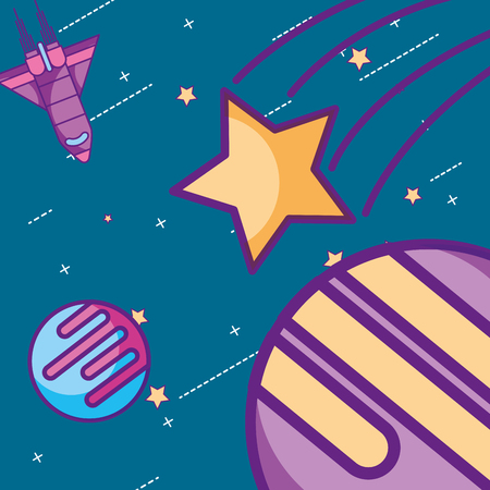 space galaxy card shooting star colors planets vector illustration