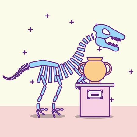 Museum Denkmäler Design prähistorische Dinosaurier Beschreibung Vase Vektor-Illustration