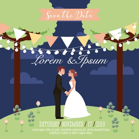couple wedding holding hands in park save the date card vector illustration