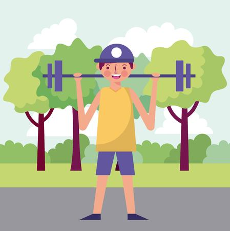 people park happy boy holding a barbell vector illustration