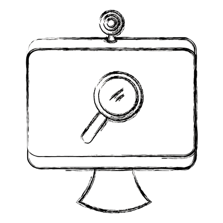 computer with webcamera and magnifying glass vector illustration design Illustration