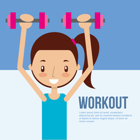 cute girl training with dumbbell fitness workout vector illustration
