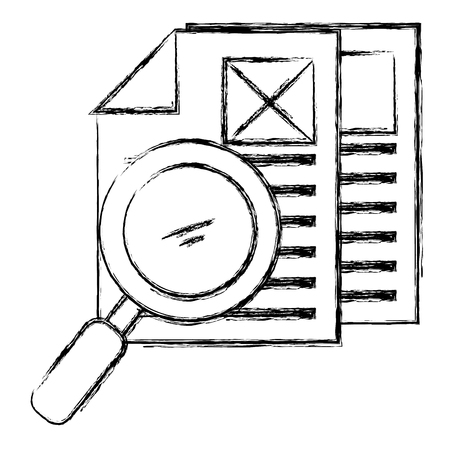 magnifying glass with documents vector illustration design 向量圖像