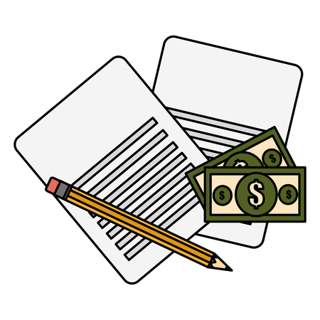 documents with bills dollars and pencil vector illustration design Çizim