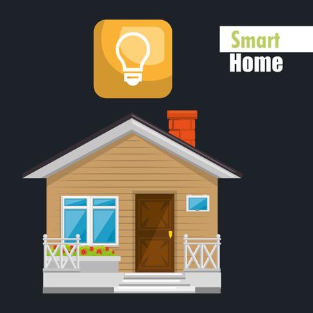 smart house with bulb light service vector illustration design Иллюстрация