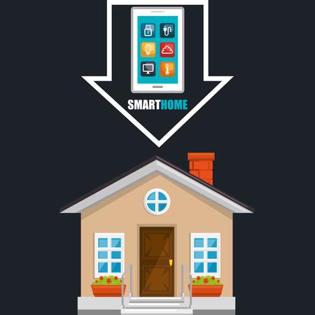 slim huis met smartphone en vastgesteld vector de illustratieontwerp van dienstenpictogrammen Vector Illustratie