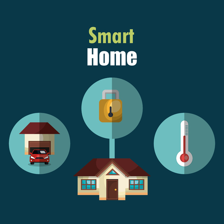 smart house with set services icons vector illustration design Иллюстрация