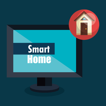 smart home with computer display vector illustration design