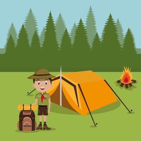 boy scout in the camping zone vector illustration design Illustration