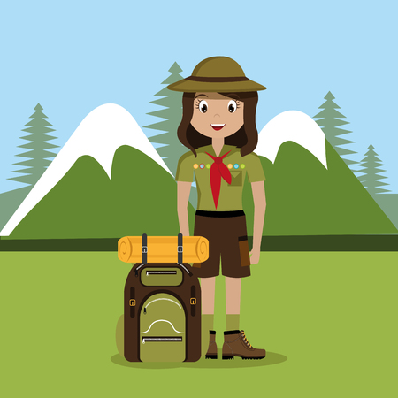 girl scout in the camping zone vector illustration design Banque d'images - 114969227