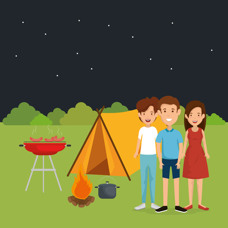 friends in the camping zone vector illustration design