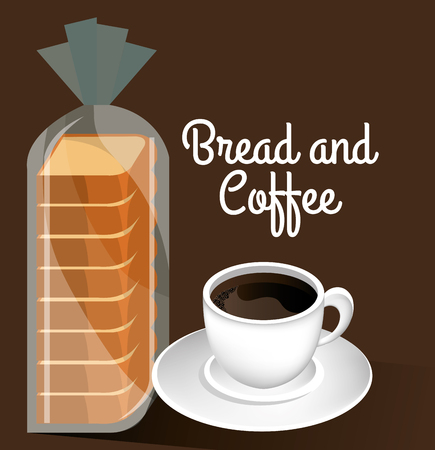 delicious halved bread and coffee label vector illustration design