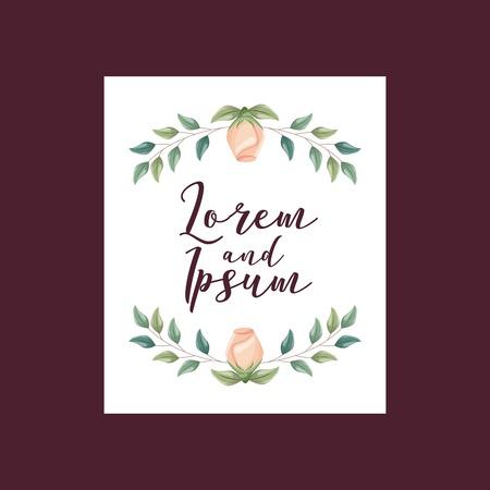 elegant wedding card flowers ornate decoration vector illustration