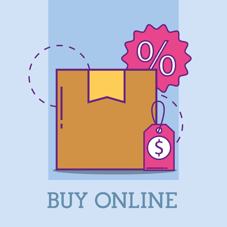 cardboard box price tag offer buy online vector illustration Çizim