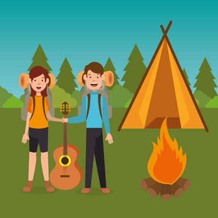 young couple in the camping zone vector illustration design Imagens - 114961144