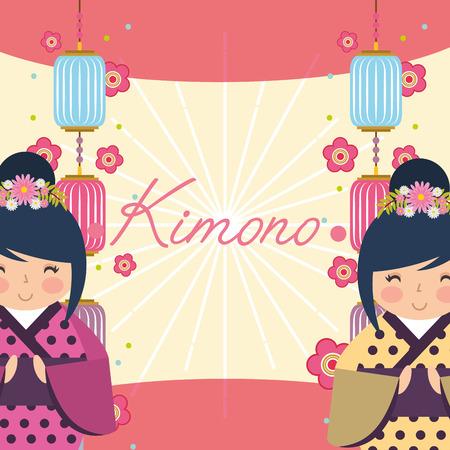japanese kokeshi doll kimono cute decoration chinese lanterns flowers vector illustration