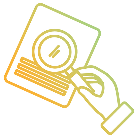 hand with magnifying glass and documents vector illustration design
