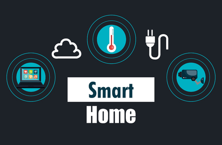 smart house with set services icons vector illustration design Illustration