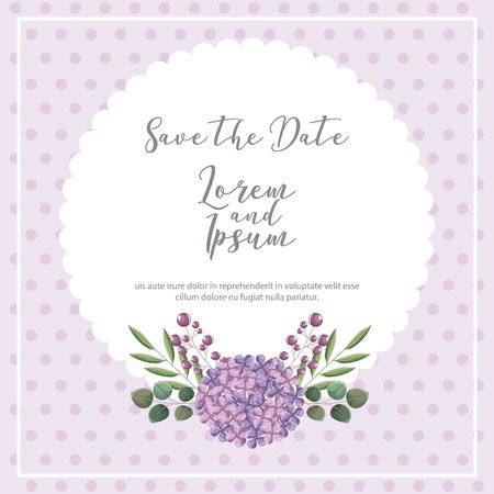 wedding save the date card flower natural decoration vector illustration Фото со стока - 114961149