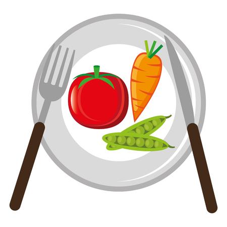 dish with vegetables healthy food vector illustration design Standard-Bild - 114961155