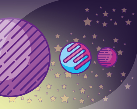 space galaxy card many stars planets connection sparkly vector illustration