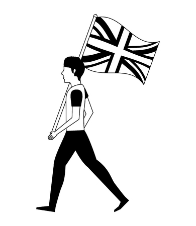 young man walking with united kingdom flag vector illustration black and white Illustration