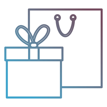 gift box present with shopping bag vector illustration design