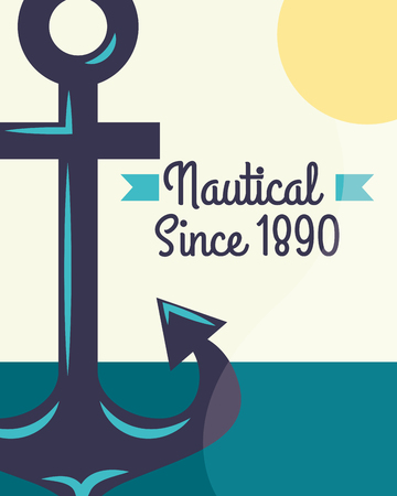 nautical maritime design sun ocean anchor sign vector illustration