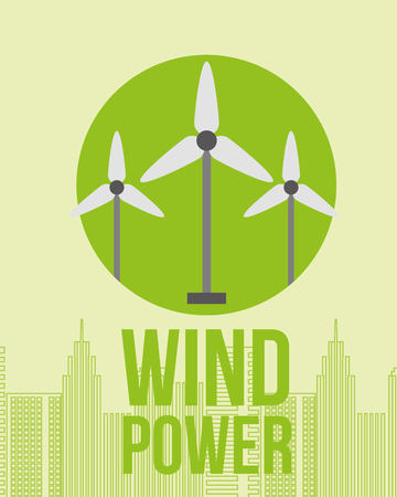 wind power station turbine city energy vector illustration