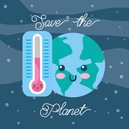 save the planet kawaii world and thermometer vector illustration Illustration