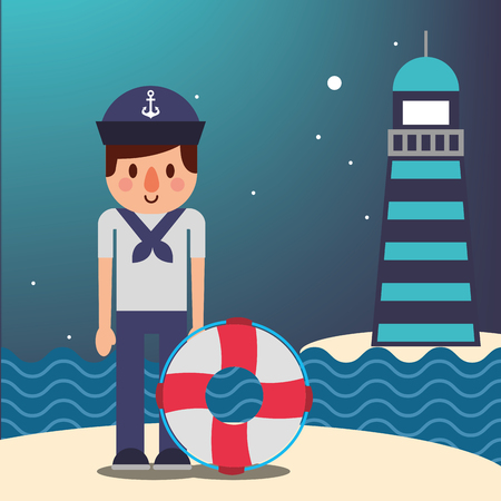 nautical maritime design sailor with float rescue night stars lighthouse ocean vector illustration