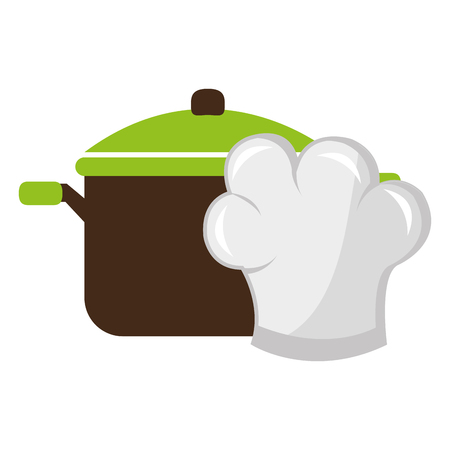 kitchen pot with chef hat vector illustration design Standard-Bild - 114912626