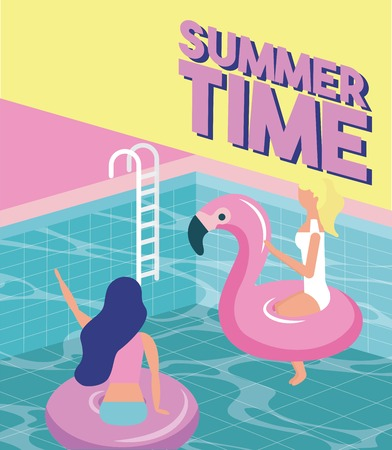 summer time vacation girls enjoying the pool flamingo floats vector illustration