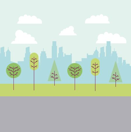 park and city road buildings many trees vector illustration