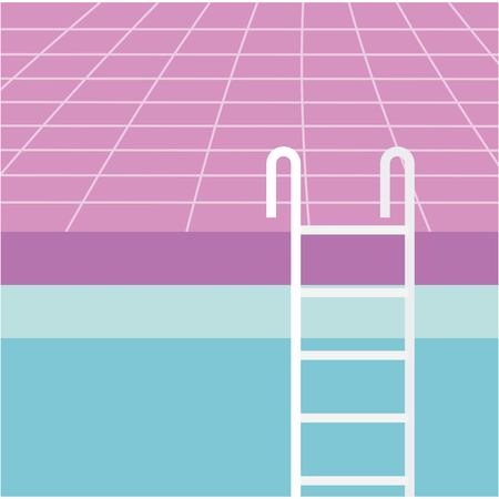 summer time vacation purple floor stairs pool vector illustration