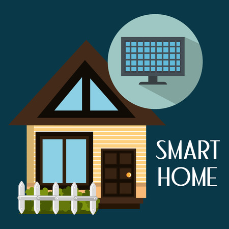 smart house with panel solar service vector illustration design