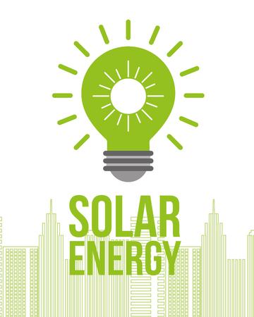 green bulb light solar energy city buildings vector illustration