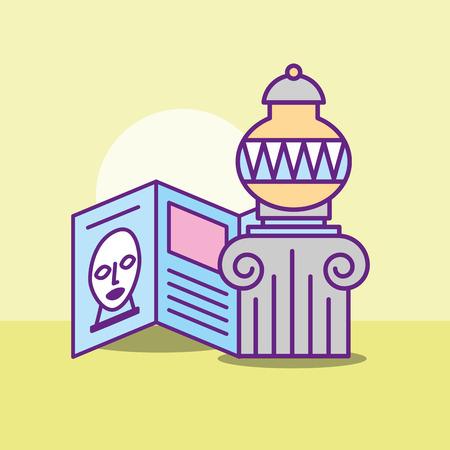 i monumenti del museo progettano la descrizione storica del vaso dell'illustrazione di vettore dell'artista