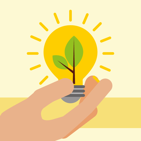 hand holding light bulb with plant ecology vector illustration