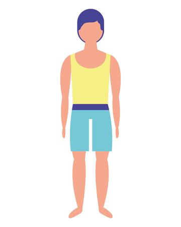 Hombre con diseño de ilustración de vector de personaje de traje de baño