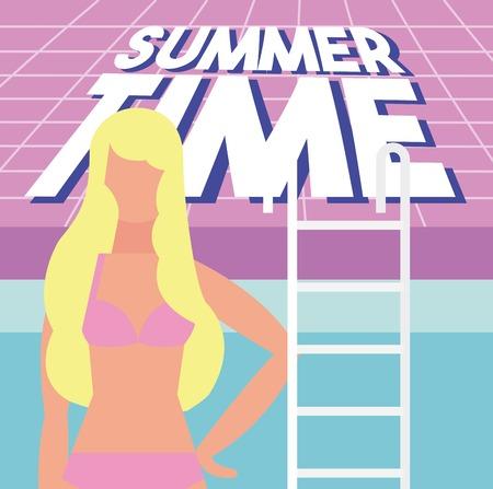 summer time vacation blonde girl pink swimsuit pool vector illustration Illustration