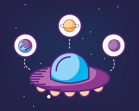space galaxy cosmic card ufo sticker planets vector illustration