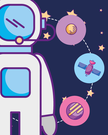 space galaxy cosmic card astronaut connection circles moon satelite planet stars vector illustration
