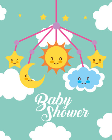 crib mobile toy clouds baby shower card vector illustration Çizim