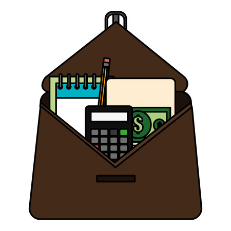 portfolio with school supplies vector illustration design