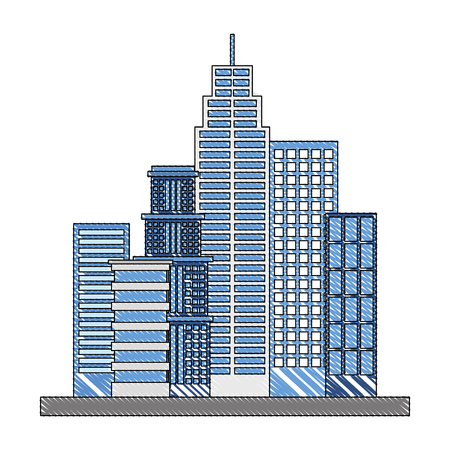 city buildings architecture facade exterior vector illustration  イラスト・ベクター素材